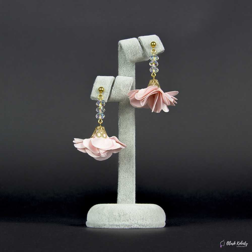 Kolczyki Kryształowa Panienka zKolekcji Golden Lady - pudrowy (jasny) różowy