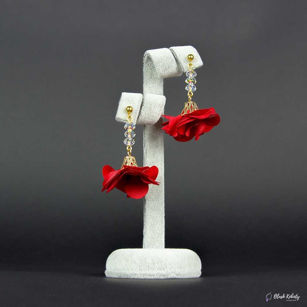 Kolczyki Kryształowa Panienka zKolekcji Golden Lady - czerwony